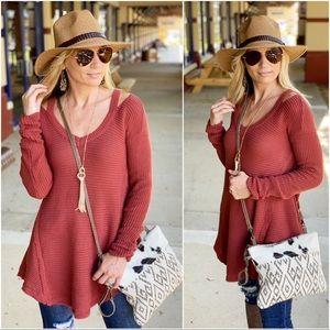 ✨RESTOCKED✨Rust high low sweater tunic
